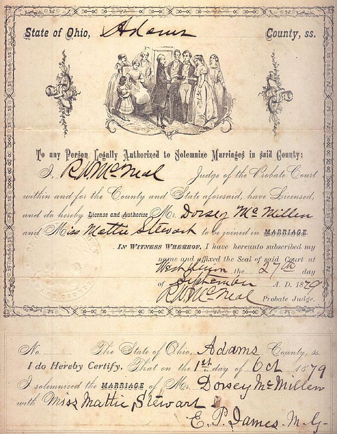 Dorsey Corwin Mcmillen Mattie Stewart Marriage Certificate