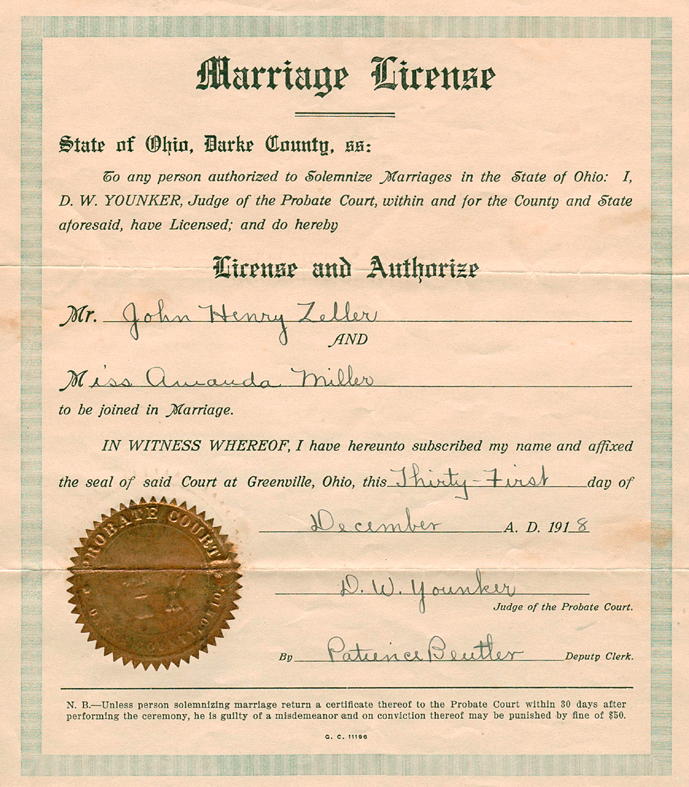 Marriage Certificate Of Amanda Miller And John Henry Zeller