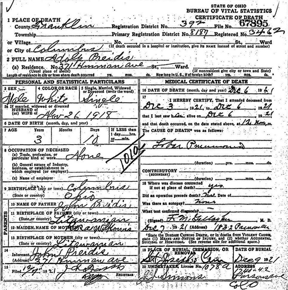 Death Certificate Of Adolph A Preidis 1918 1921