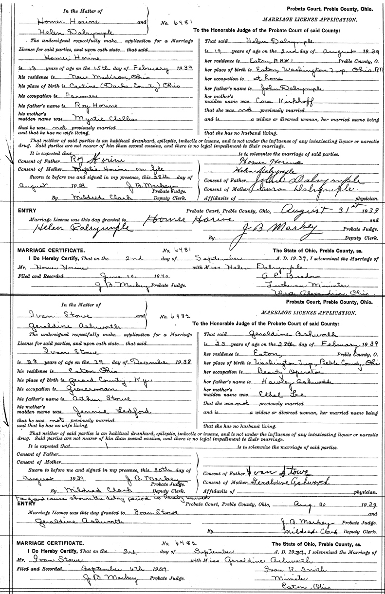 Marriage License Application of Homer Leonard Horine (1921-1945)